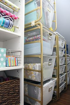 IHeart Organizing: Under the Stairs Storage using Ikea Algot mesh baskets plus a gift wrapping station!
