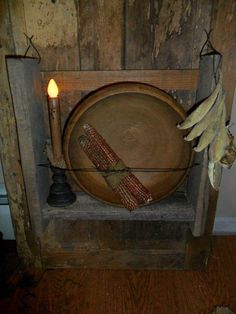Primitive Cupboard Early Inspired Wooden Bowl Rack Shelf Cobs Pod Garland Light | eBay