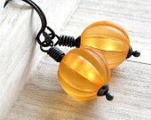 Tangerine Earrings, Tangerine Orange Vintage Lucite Oxidized Sterling Silver Earrings - cute for fall!
