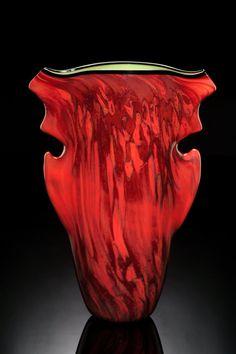 Organic sculptural art glass vase by Bernard Katz Amazing shade of Venetian Red, opaque art glass with green interior. Sculptural Series The Red Aerolith Vase.