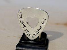Sterling silver couldnt pick a better dad guitar pick with heart - product images  of