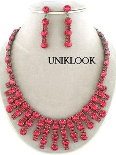 Formal Fuchsia Pink Crystal Acrylic Silver Prom Bridal Necklace Earrings Jewelry