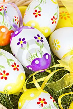 Painted easter eggs | Stock Images: Colorful painted Easter eggs