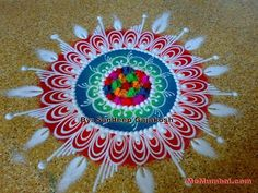 Easy Rangoli Designs Diwali, Rangoli Designs Flower, Colorful Rangoli Designs, Rangoli Designs Images, Mehndi Art Designs, Rangoli Ideas, Flower Rangoli, Beautiful Rangoli Designs, Simple Rangoli
