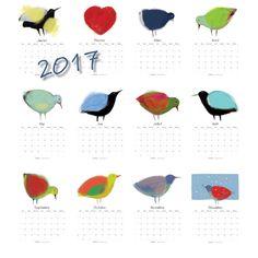 Calendrier des oiseaux 2017 à télécharger PDF et par AuxOiseaux Art Textile, Creations, Birds, Etsy, Resolutions, Boutiques, Shops, Collections, Awesome