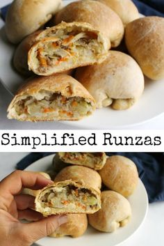 Soft butter bread stuffed with ground beef, cabbage and cheese make runzas delicious. This simplified recipe also makes them a lot quicker and easier! Beef Recipes, Cooking Recipes, Ark Recipes, Recipies, Shrimp Recipes, Copycat Recipes, Asian Recipes, Soup Recipes, Chicken Recipes