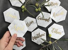 Wedding place cards. Wedding favors. Marble coasters.