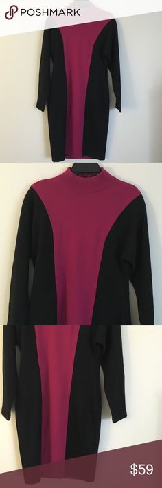 "Casual Corner M fuchsia black long sleeve dress Look sophisticated and trendy while staying warm in this Casual Corner fuchsia and black long sleeve sweater dress in a size medium. Sweater features mock neck line and zip up back. Dimensions taken while garment is laying flat: 16"" across shoulders, 38"" bust, 34"" waist, 36"" hips. Length from shoulder to bottom hem 38"" and sleeve length is 24"" casual corner Dresses Midi"