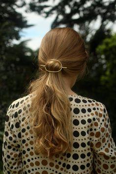 Bun holder large oval hair barrette stick hair slide by Kapelika