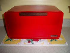 Vintage red breadbox