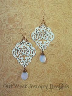 Gypsy Cowgirl Earrings - Shabby White Brass Filigree with White Opalite Crystal Briolettes - pinned by pin4etsy.com