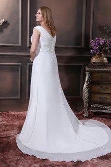 Robe de mariée solennel avec sans manches boutonné lache a-ligne - Photo 2