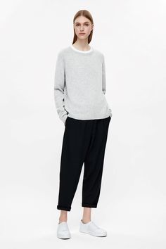 COS image 1 of Relaxed cashmere jumper in Grey Light