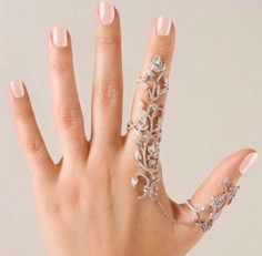 Full Finger linked statement Ring, Double Knuckle, Full Finger, attached Finger Ring, chain Linked rings, slave ring silv