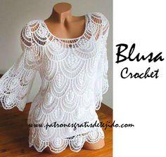 Hermosa blusa artesanal para las más avanzadas en tejido / patrones   Crochet y Dos agujas