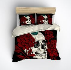 Peony and Teal Butterfly Skull Bedding