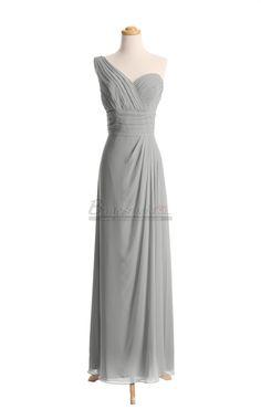 One Shoulder Chiffon Long Silver Bridesmaid Dress in Grey Dresses BDS-CA077 - BridesmaidCA.com