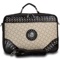 Chic Studded Taupe Briefcase w/ Silver Lion Emblem $42.00