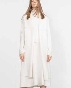 Image 2 of LONG COAT WITH DRAPED NECK from Zara