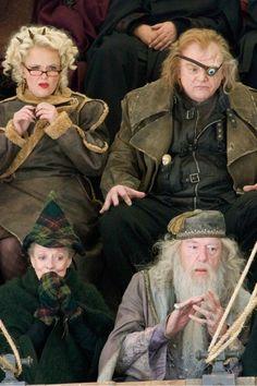 Skeeter, Mad Eye, McGonagall & Dumbledore at a quidditch match