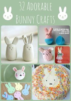 32 Adorable Bunny Crafts - super cute and darling Spring Crafts for kids. Who can resist an adorable DIY Bunny? Love love love. Make one bunny or LOTS of bunnies this Easter!