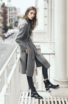 long grey coat with belt