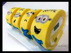 {5th Challenge Day} New creation - Minions Swiss Roll with green Kiwi filling. http://www.hankerie.com/2013/08/minions-swiss-roll-with-green-kiwi.html