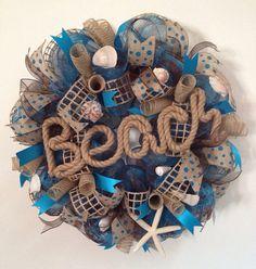 Beach Seashell Burlap Deco Mesh Wreath with Starfish Spring Summer on Etsy, $75.00