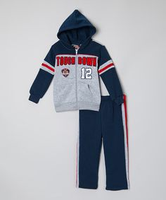 This Navy 'Touchdown' Zip-Up Hoodie & Pants - Infant, Toddler & Boys by Allura Imports is perfect! #zulilyfinds
