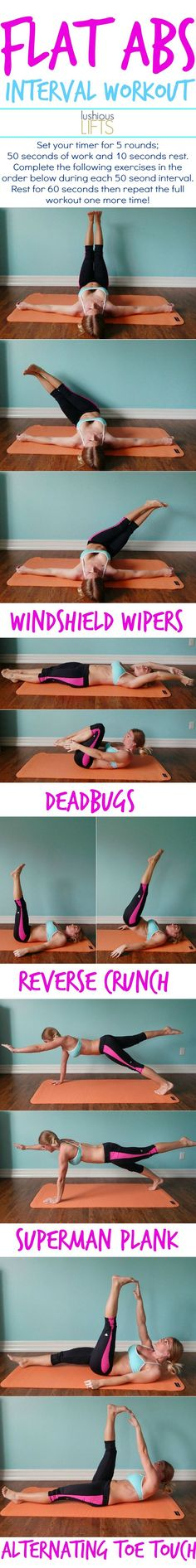 Flat Abs Interval Workout; it doesn't always have to be about crunches. Change up your ab workouts with windshield wipers and superman planks!!