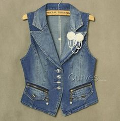 Women Denim Vest Fashion Pearl Brooch Zipper Pocket Denim Vests Female Slim Body All Match Denim Waistcoat Plus Size 3XL