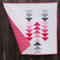 "Flying Geese // Little Gosling :: Modern Baby Quilt // Ombre // ""Follow the Leader"" Quick-Sew Baby Quilt Club Pattern by @citystiches"