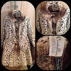 """Vintage couture leopard coat metal bow clasps From the vault vintage collection:  Vintage couture imported faux fur leopard coat with four unique metal bows clasps.  This coat is reminiscent of the Mad Men era Circa 1960s.  Coat has two side pockets.  It is a lined in a rich chocolate brown satin lining and has a stylish rounded collar.  The measurements are arm length 21"""", shoulder width 17 1/2 """", bust and waist 18 1/2"""" and length is 34"""". Perfect condition with no flaws or issues. Country…"""