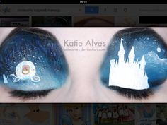 Cinderella inspired makeup. Anyone who did this must be very patient. That's a lot of work!