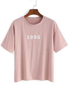T-shirt con stampa lettera e mumero