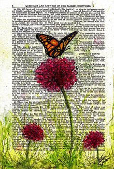 """""""Flutter By"""" mixed media painting by Melissa Sherbon watercolor and pen on vintage book page Altered Books Pages, Altered Book Art, Old Book Pages, Old Book Art, Vintage Book Art, Mixed Media Painting, Mixed Media Art, Art Journal Pages, Art Journals"""