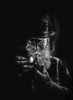 Smoke by DanielRigo on DeviantArt Black And White Art Drawing, Black Paper Drawing, Black And White Portraits, Dark Art Drawings, Amazing Drawings, Man Smoking, Pipe Smoking, Old Man Portrait, Pencil Portrait Drawing