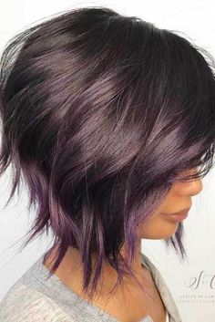 Brown Bob With Subtle Purple Balayage. 20 Purple Balayage Ideas from Subtle to Vibrant Short Hair With Layers, Short Hair Cuts, Wavy Layers, Purple Balayage, Balayage Bob, Balayage Hairstyle, Caramel Balayage, Brown Balayage, Haircut And Color