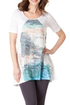 Printed front sheer tunic. Bottom of the top hits about mid-thigh.  Printed Front Tunic by Yest. Clothing - Tops - Tunics Clothing - Tops - Short Sleeve Iowa