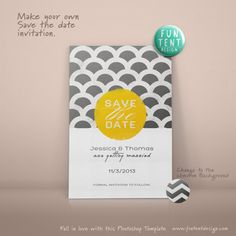 Shop for on Etsy, the place to express your creativity through the buying and selling of handmade and vintage goods. Tent Design, Save The Date Invitations, Make Your Own, How To Make, Photoshop Design, Announcement, Chevron, Dating, Wedding Inspiration