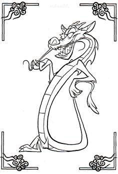 Mushu Coloring Pages - Mulan cartoon coloring pages