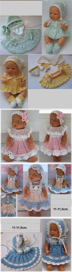 Crochet baby doll clothes tutorials 28 New Ideas Baby Doll Clothes, Crochet Doll Clothes, Doll Clothes Patterns, Doll Patterns, Baby Dolls, Baby Knitting Patterns, Crochet Edging Patterns Free, Crochet Skirt Pattern, Crochet Baby Bonnet