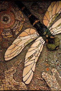 Stone mosiac garden dragonfly