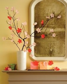 Paper Cherry Blossom Display Cherry blossoms are famously ephemeral, but if you craft artful renditions of them from glassine or vellum, they'll deliver year-round pleasure. Get the How-To