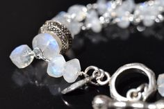 Sterling Silver and Marcasite Toggle Clasp Moonstone and Freshwater Pearl Bracelet