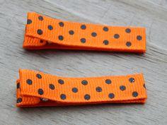 Halloween Polka Dot Ribbon Hair Clips - Black and Orange Polka Dot Hair Clips - Orange Ribbon Hair Clip - Halloween Toddler Hair Clip by Sapphire107 on Etsy