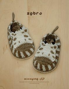 Zebra Baby Booties Crochet PATTERN by Kittying.com / Mulu.us