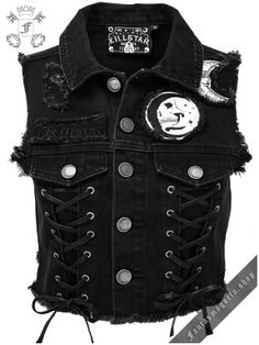 Gothic fashion 591027151083602335 - Killstar Phased Out Crescent Full Moon Gothic Occult Punk Denim Vest Source by Grunge Outfits, Punk Outfits, Vest Outfits, Gothic Outfits, Teen Fashion Outfits, Womens Fashion, Stylish Outfits, Dressy Outfits, Fashion Clothes