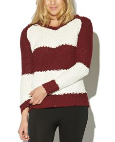 """Stand out from the crowd with this super comfy pullover sweater, featuring a color-blocked popcorn knit body, scop neck, and ribbed trim.  Model is 5'10"""" and wears a size small.      69% Polyester / 31% Acrylic     Machine Wash     Imported"""