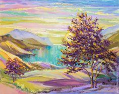 """Купить Картина """"Крым. Тепло Осени"""" (холст, масло) - картина в подарок, картина для интерьера, бирюзовый"""